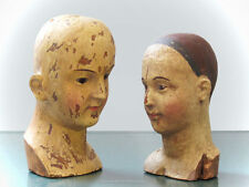 Santos Doll Heads vintage-style BUST/Head PAIR (Antique-style busts/heads)