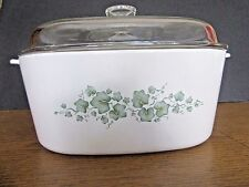 CORNING WARE GREEN IVY CALLAWAY CASSEROLE DISH WITH LID 5 QT DUTCH OVEN CORELLE