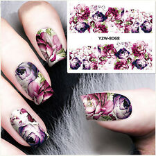 Nail Art Water Decals Stickers Transfers Deep Purple Flowers Gel Polish YZW Pop