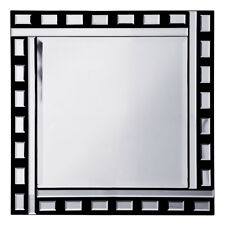 Black & Silver Square Mirror W/ Thick & thin and tiles Bar Frame Litecraft