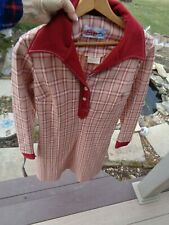Vtg 1970's Womens Polyester Red Plaid Dress w Oversize Collar Happenings Brand S