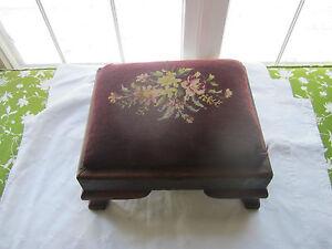 Beautiful needlepoint antique footstool. Empire style.