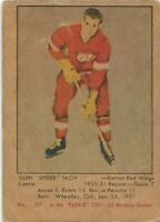 1951-52 Parkhurst #57 Glen Skov Very Good RC Rookie Detroit Red Wings