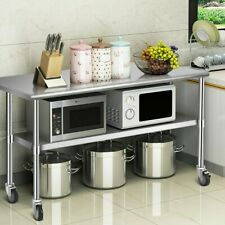 "48"" x 24"" Nsf Stainless Steel Commercial Kitchen Prep & Work Table 4 wheels Us"