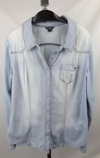 Guess Denim Shirt Top XL Lightwash Stripe Snap Button