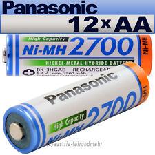 """""""12x Panasonic AKKU Mignon AA 2700mAh HR6  BK-3HGAE"""
