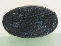 Vintage 1950's Iridescent Blue Beaded Evening Bag Clutch Purse Made JAPAN New