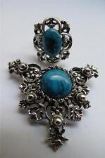 Vintage Baroque Design Silvertone Faux Turquoise Sarah Coventry Ring & Brooch