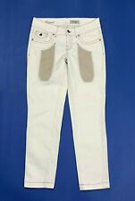 Jeckerson w28 tg 42 jeans donna usato bianco skinny stretch toppe cropped T649