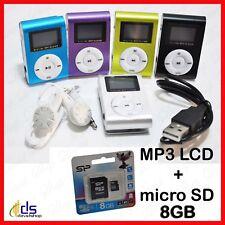 mini lettore riproduttore mp3 usb con radio fm clip player micro sd 8 gb display