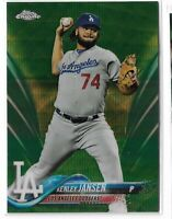 2018 Topps chrome baseball Green wave refractor parallel Kenley Jansen 07/99
