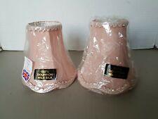 2 x Vintage Pink Wild Silk Lamp Shades with tassles brand new 15.5 x 14 x 8 cms