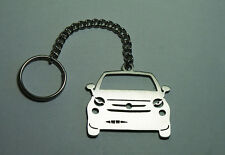 Stainless Steel Laser Cut Car Keychain Keyring Keyfob Fancy Fiat 500 Best Gift