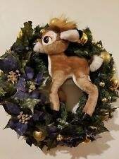 "Christmas Holiday Wreath  22"" Decoration Purple Poinsettia Plush Deer Reindeer"