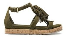 💞 39 Or 8 Khaki Green Tassel $149 New Flats Shoes Sandals Country Road