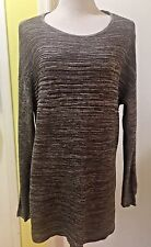 ELLEN TRACY Women's Sweater XXL 2XL Brown Ivory Hi Lo Cotton G2