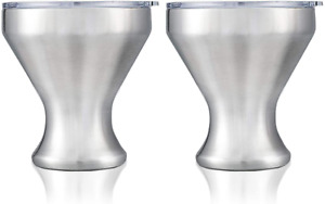 Martini Glass, Insulated Stainless Steel Margarita Glass With Lid, Set Of 2