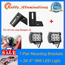 2X 4''in 18W LED+A-pillar Mounting Bracket Aluminum Windshield Jeep Wrangler JK