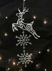 """Silver Sparkle"" Reindeer/Snowflake Decoration"