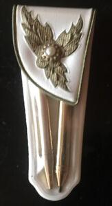 Vintage Mid Century Gold Tone  Blue Glass Gem Mechanical Pencil & Pen Purse Set