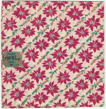 1950s Christmas Decorated Wrapping Paper Poinsettia -2 Sheets with Original Tag