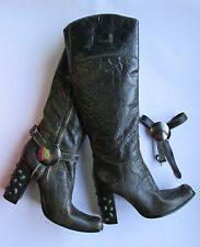 GIANNI BARBATO Knee High Boots Brown Antique Patent Leather w Stones EU 39/US 8