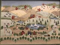 Original Primitive Folk Art Painting - Rural Community In Style Of Bayer/Moses