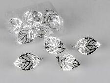 Deko Blatt Metall silber mit Kristallen - 6 teilig, Streu Hochzeits Tischdeko