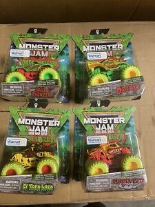 NEW Monster Jam Zombie Invasion Set of 4 Blue Thunder Dragon El Toro Loco Mutt