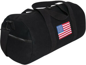 "Black Heavy Canvas Gym Travel Shoulder Duffle Bag with USA Flag 19"" x 9"""