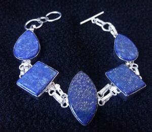 Bracelet argent 925 sertis lapis lazuli cabochons naturels 210-190x30x7mm