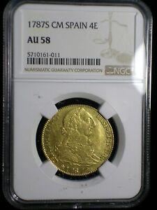 KIngdom of Spain 1787 S CM Gold 4 Escudos NGC AU-58* >Tops Pops< Highest Graded