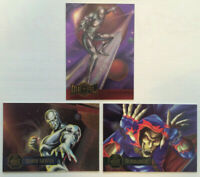 Marvel INSERT LOT of 3 Comic cards Silver Surfer Flair 1995 Power Blast Metal NM