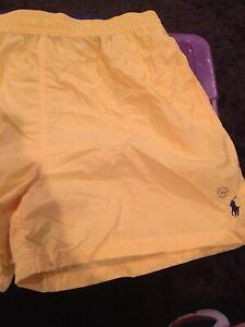 Polo Ralph Lauren Bathing Suit Swim Trunks Sun Yellow Lined Shorts Pony Logo NEW