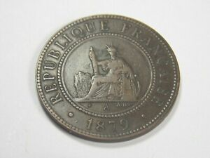 French Colonies French Cochin China 1 Centime 1879. Mint A-AB
