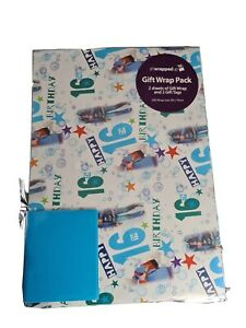 Gift  Wrap  2 x 16th Birthday Male Thick Wrapping Paper & 2 Gift Tags 50×70cm