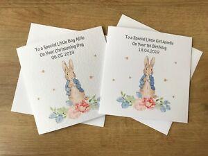 Personalised Peter Rabbit Christening / Birthday Card / New baby / Bunny