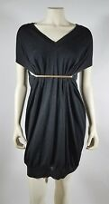 MARTIN MARGIELA Black Knit Wool Dress with Bar Accent - size S