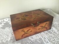 Vintage Persian box - leather covered with hand-painted bird decoration