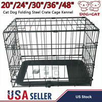 """20""""-48"""" Large Cat Dog Folding Steel Crate Playpen Travel Pet Cage Kennel w/ Tray"""