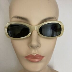 Byblos Sunglasses Vintage 1996 Bone Color Glass Lenses Made in Italy