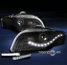 FOR 2005-2009 AUDI A4 S4 B7 DRL LED BLACK PROJECTOR HEADLIGHT HEADLAMP W/DRL KIT