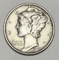 1941 Mercury Dime 10 Cent 0.900 Silver WWII Era Circulated Coin (3344)