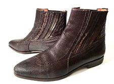 Santoni Brown Lizard, Crocodile, Ostrich Leather Boots Shoes Size 40, UK-6, US-7