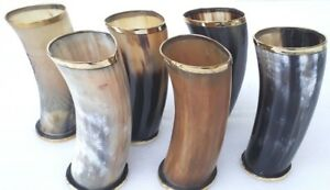 """Set of 6 viking drinking horn cups mugs 6"""" for ale beer wine with free shipping"""