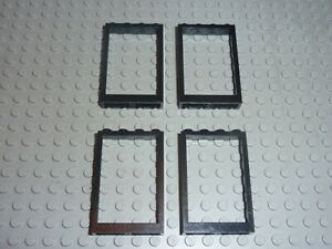 4 x LEGO Black window Réf 2493a Set 6398/6386/6540/6371