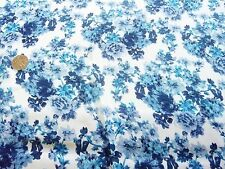 CHIFFON PRINT-ALLOVER FLORAL-WHITE/INDIGO/NAVY -DRESS FABRIC-FREE P&P