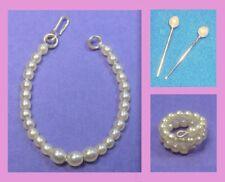 Barbie Dreamz CREAM White Graduated Pearl Necklace Bracelet ER Vintage REPRO LOT