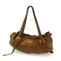miumiu Shoulder bag Logo Brown Gold Woman Authentic Used A1111