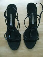Manolo Blahnik Black Leather Ankle Buckle Strappy High Heel Sandals Size 41(9.5)